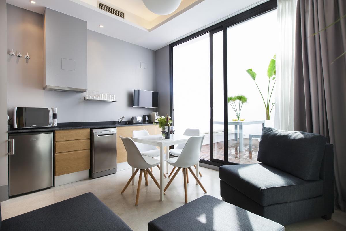 Aspasios kare no loft terrace beach apartments in sitges for Loft terrasse