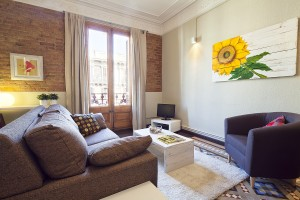 Living Room - Fuster Apartments - Stylish Balcony