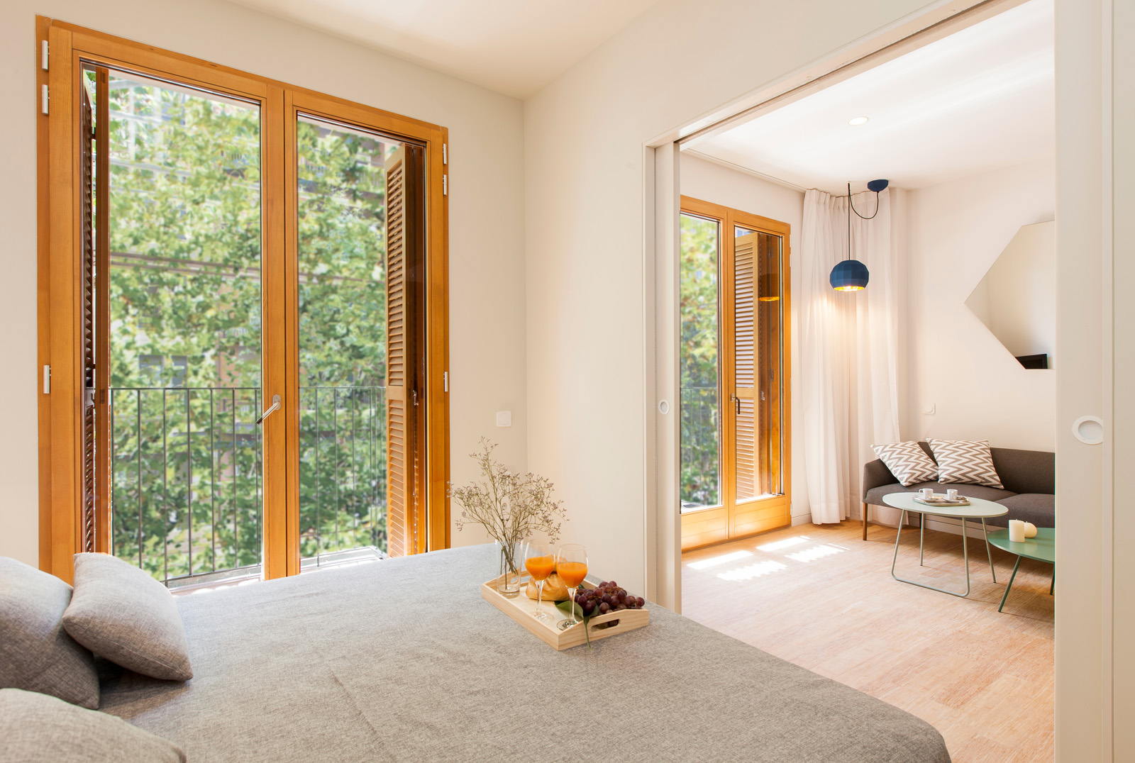 Bedroom and living space - Garden Apartments