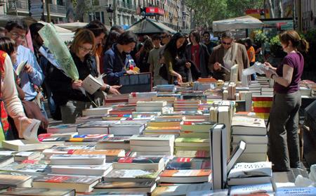 Puestos de libreros por sant jordi, blog aspasios