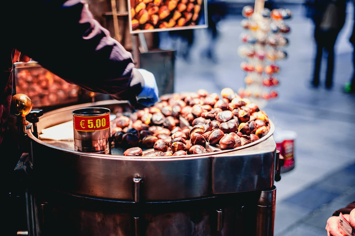 Chestnuts' stand in Barcelona street